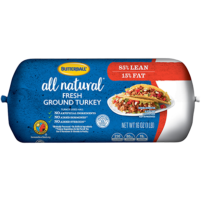 Fresh All Natural* Ground Turkey 85/15 Roll Package