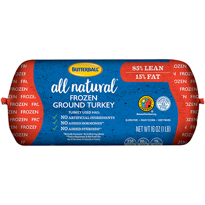 Frozen All Natural* Ground Turkey 85/15 Roll Package