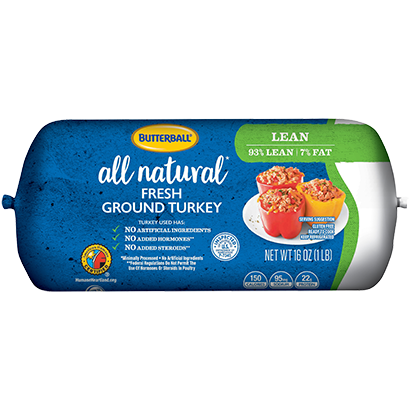 Fresh All Natural* Ground Turkey 93/7 Roll Package