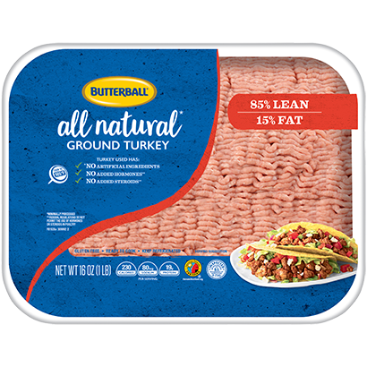 Fresh All Natural* Ground Turkey 85/15 Package