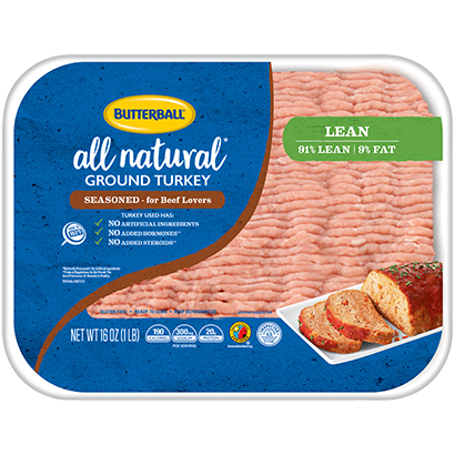 Fresh Seasoned All Natural* Ground Turkey 91/9 Package