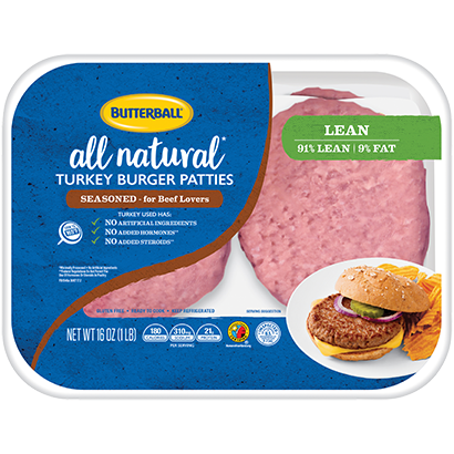 Fresh All Natural* Seasoned Turkey Burger Patties Package