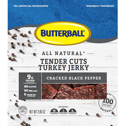 All Natural* Tender Cuts Turkey Snack Cracked Black Pepper Flavor Package