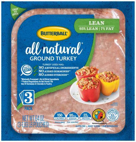 Fresh All Natural* Ground Turkey 93/7 Flex Pack Package