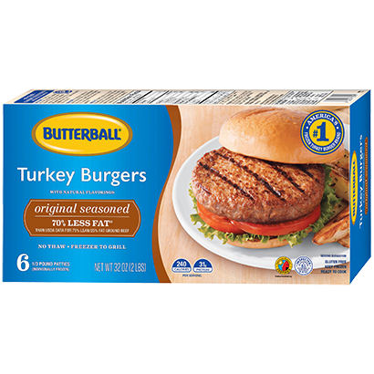 Original Seasoned Frozen Turkey Burgers Package