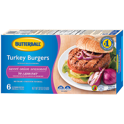 Sweet Onion Seasoned Frozen Turkey Burgers Package
