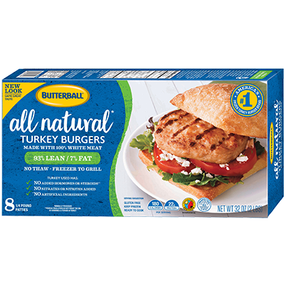 All Natural* 100% White Meat Turkey Burger Package