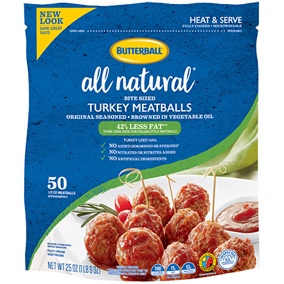 All Natural* Frozen Turkey Meatballs Package