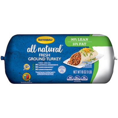 Fresh All Natural* Ground Turkey 90/10 Roll Package