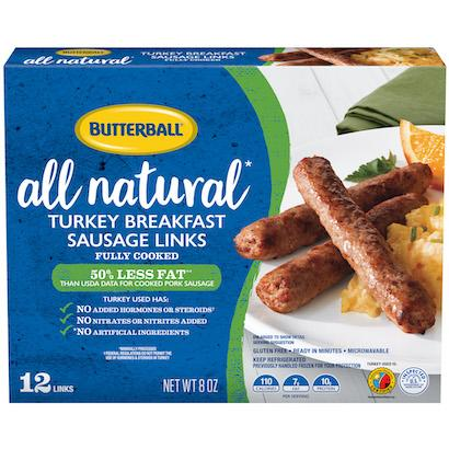 All Natural* Turkey Breakfast Sausage Links Package