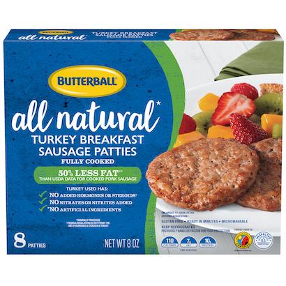 All Natural* Turkey Breakfast Sausage Patties Package