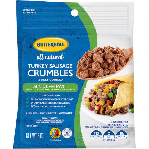 Butterball All Natural* Turkey Sausage Crumbles Package